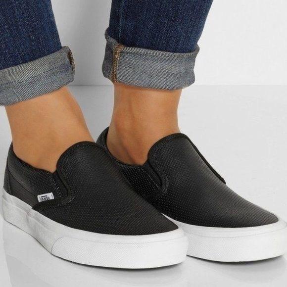 vans slip on black leather